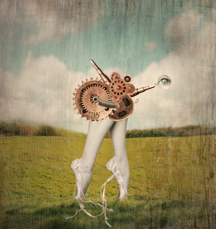Fantasy artistic image that represent feet tiptoe and calves of a classic ballerina in a ballet slippers with a surreal mechanism of gears that supposed to move them in a surreal background