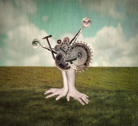 人間の手と腕の超現実的な背景に移動することになって歯車の超現実的なメカニズムを表すファンタジー功妙なイメージ 写真素材