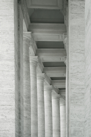semicircular: Abstract elegant detail of many columns in semicircular position in black and white