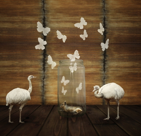 uniqueness: Fantasy artistic composition with a hare in a glass jar, butterflies and two white ostrich