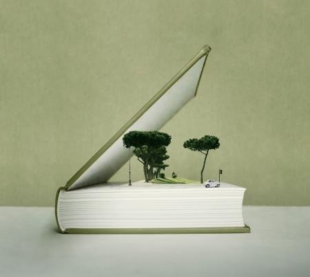 芸術的なファンタジーと樹木、車、フィールド、トラフィックの光の効果ポップアップ帳を開く 写真素材 - 20820672