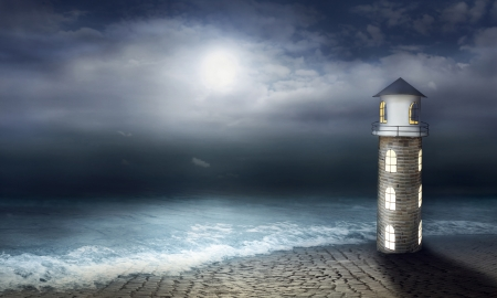 poetic: Beautiful artistic image with a lighthouse sea and sky with moon at night Stock Photo