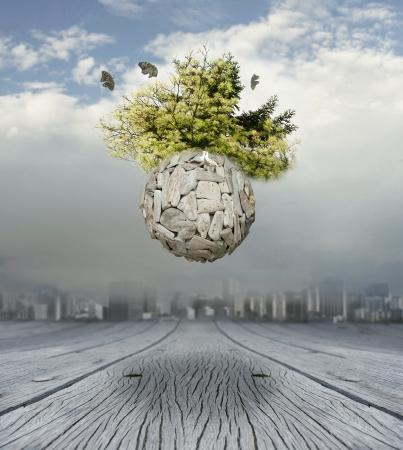 Een conceptuele mooie surrealistische achtergrond die een nieuwe wereld Stockfoto
