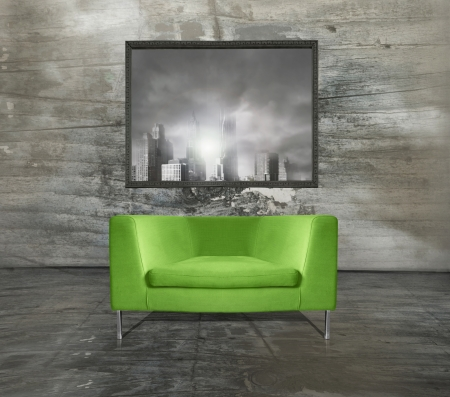 Minimalist modern acid green armchair with an imagine above it in a unusual interior environment   photo