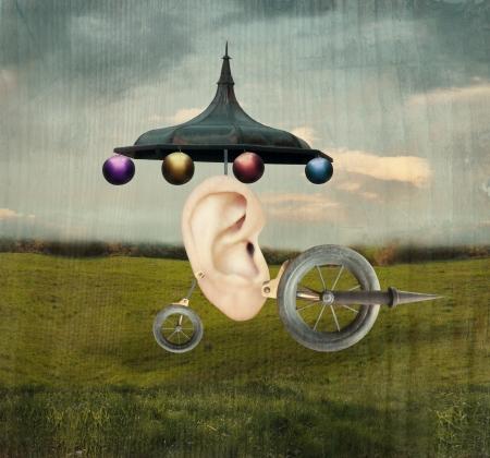 Mooie artistieke beeld dat een menselijk oor vertegenwoordigen met surrealistische wielen en monteur object in een surrealistische