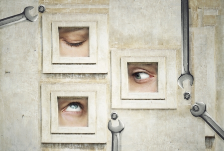 adjusting screw: Funny and artistic composition of three human eyes  Stock Photo