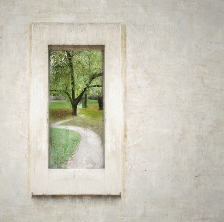 Two surreal window with sky and leaves with plant Standard-Bild