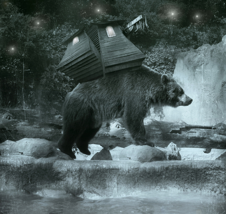nigth: Beautiful fantasy brown bear carrying on his back a sort of ballast, lodge while crossing a river at night Stock Photo