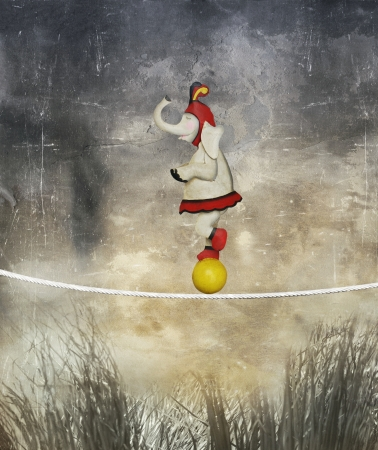 wierd: Illustrative funny female elephant dressed circus balancing on a rope and ball like an acrobat in a surreal landscape