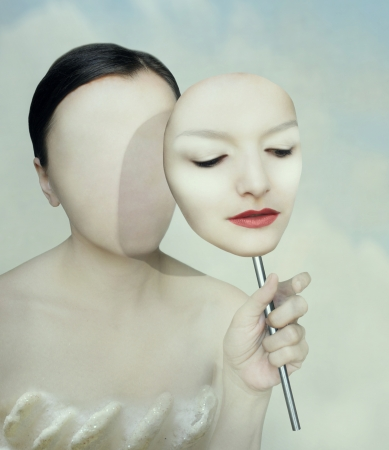 Surreal portrait of a woman faceless with her face mask