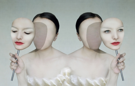 Surreal portrait of two women faceless with her face masks