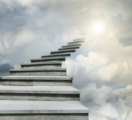 Conceptual of stairway over the sky in the clouds