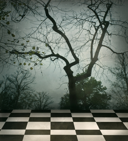 surrealist: Beautiful surreal background of trees and black and white checkered floor in a grungy style