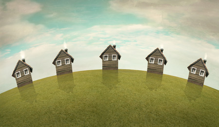 poetical: Horizontal illustrative imagine representing five same houses on a hill with cloudy sky