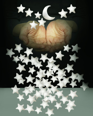 imaginative: Two palms with many stars and the moon on black and grey background