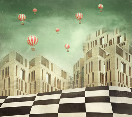 Illustration of a several modern buildings in a surreal landscape and many hot air balloons Stock Photo