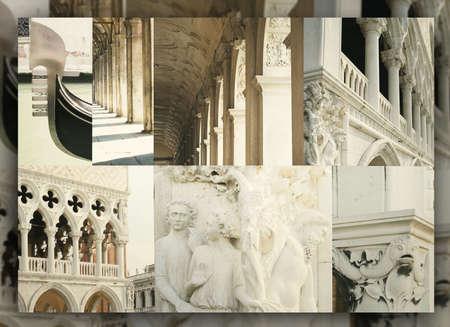 architectonic: Elegant collage of architectonic details of Venice, Italy Stockfoto