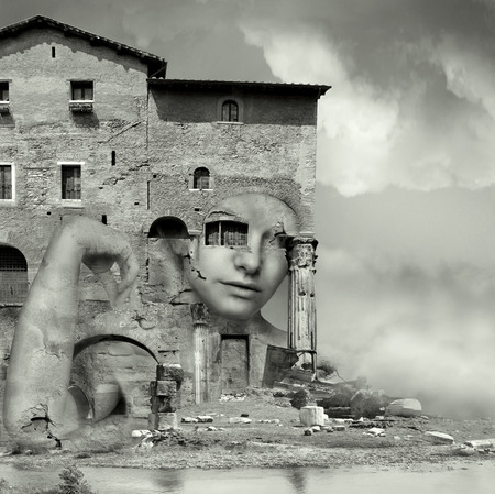 surrealistic: Artistic surreal imagine in black and white with a girl face camouflaged in a complex of antique building and ruins in a surreal background