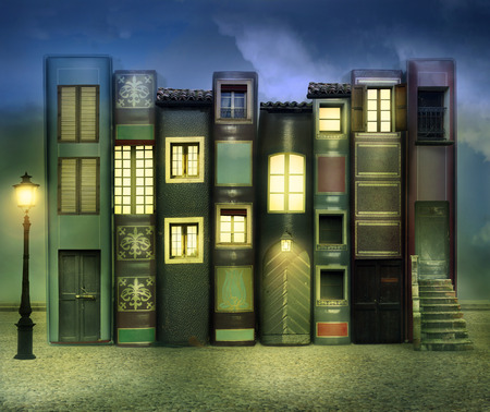 surrealistic: Many books with windows doors lamps in a external background in the night