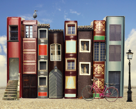 fantasy book: Many books with windows doors lamps in a external background with blue light sky