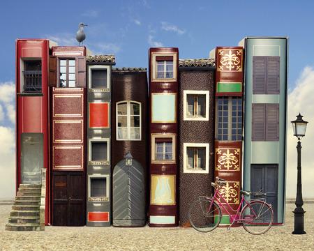educacion: Muchos libros con ventanas puertas lámparas en un fondo externo con el cielo azul claro