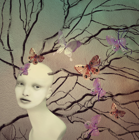 Artistic illustrative image represent a female creature with many branches and butterflies