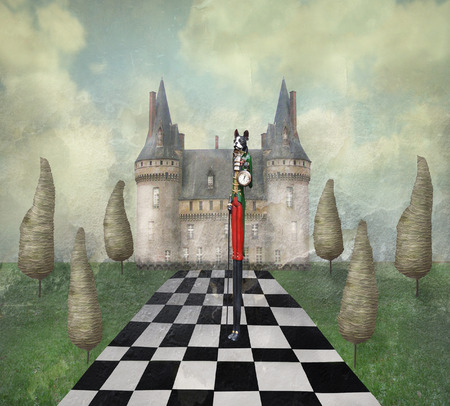 fanciful: Fantasy surreal illustration in a dreamy place with a castle, trees, chess, sky, grass with a strange character  Stock Photo