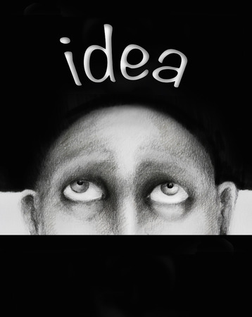 Hand drawing illustration which is conceptually a man who is thinking of an idea 免版税图像