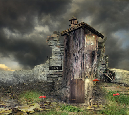Fantasy landscape with a tree with door window and roof like a house with many details in a magical atmosphere