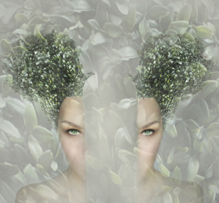 originality: Female artistic portrait divided in two parts, surreal concept Stock Photo