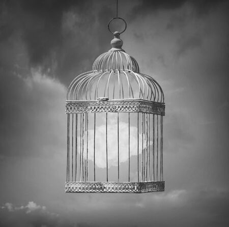 poetic: Dreamy image in black and white that represent a cloud inside a cage Stock Photo