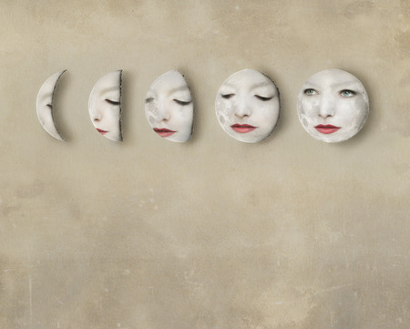 lunar phases: Imagine of a lunar phases with a womans face inside the moons