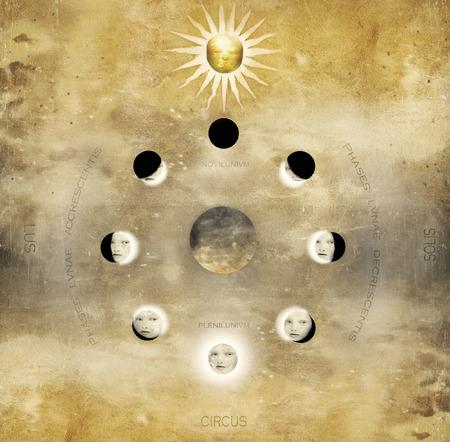 sol y luna: Imagínese una de las fases lunares con Sun con la cara de una mujer dentro de la lunas Medieval mapa inspiración con caracteres latinos romano