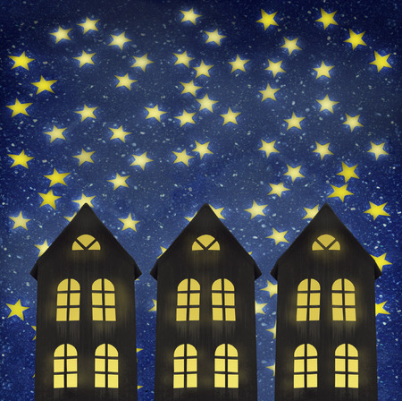 nocturne: Illustrative image representing three building at night with a wonderful starry sky