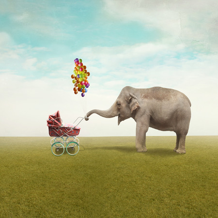 Funny illustration with a beautiful elephant leading walking her child in a wheelchair