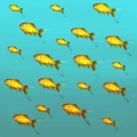 freshwater: Illustrative background of many red freshwater fish