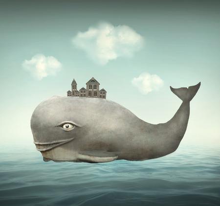 Surreal illustration of a whale in the ocean with some houses in his back