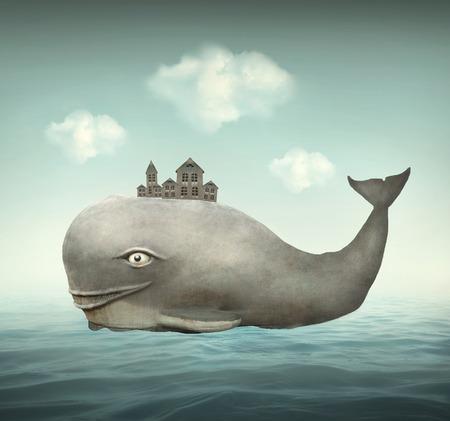 Surreal illustratie van een walvis in de oceaan met enkele huizen in de rug