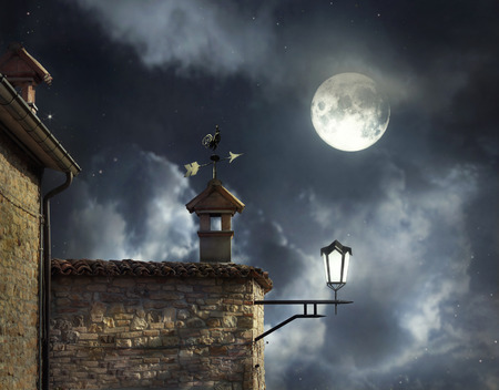 full: Antique roofs with weather vane rooster and chimneys in a beautiful night sky with full moon and clouds
