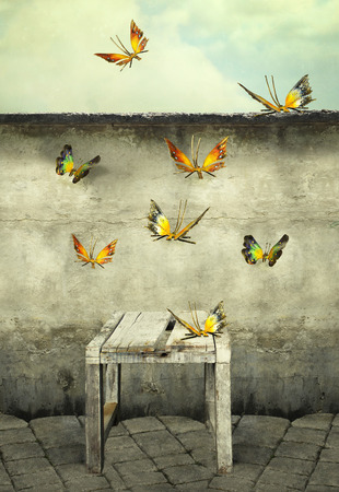 surrealist: Many colorful butterflies flying into the sky with a peeling wall and a bench, illustrative photo and artistic
