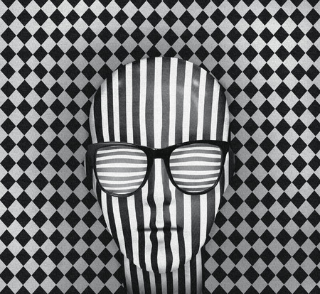 veiled: Graphic illustration with optical effect representing a persons head covered with vertical stripes with glasses horizontal stripes and white diamond pattern in black and white