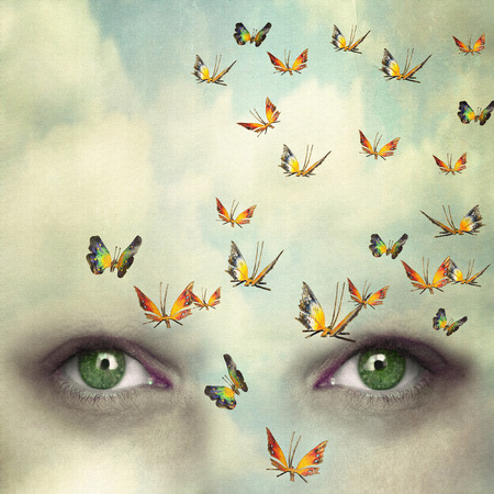 Two eyes with the sky and so many butterflies flying on the forehead Stock Photo