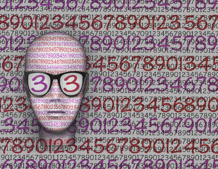 mental confusion: Graphic illustration representing the head of a stylized person with all the numbers on the face on the glasses and the background.