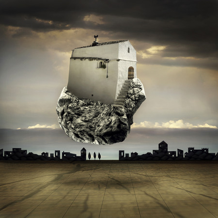 metaphysics: Surreal landscape with a flying house on a rock