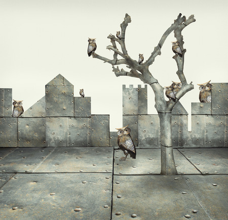 surrealist: Surreal illustration of many small mechanical owls on a tree and scattered in a mechanic landscape