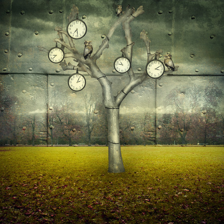 surreal: Surreal illustration of many clock and small mechanical owls on a tree and scattered in a mechanic landscape