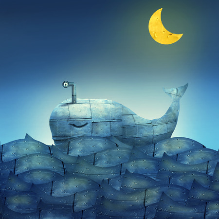 Surreal illustration of a mechanical whale, like submarine, in the ocean with a half moon