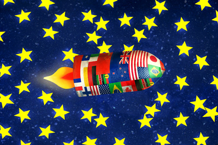 interstellar: Fun illustration of a spaceship with all the flags of the nations in interstellar travel Stock Photo