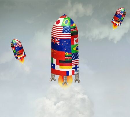 taking off: Fun illustration of three spaceships with all the flags of the nations taking off into space