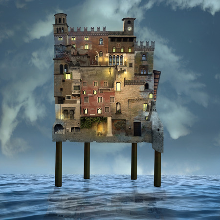 Artistic image of many buildings stacked like a palafitte city over the sea with a sky in the background